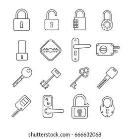 Set of keys and locks Related Vector Line Icons. Contains such icon as heck, door lock, door latch, locking device, code