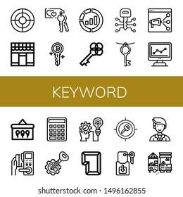 Set of keyword icons such as Seo, Market, Key, Marketing, Keys, Strategic , keyword