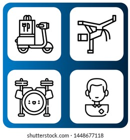 Set of kick icons such as Scooter, Capoeira, Drum set, Soccer player , kick