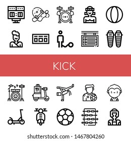 Set of kick icons such as Scoreboard, Judo, Pool kickboard, Drum set, Ball, Muay thai, Shin, Drum kit, Scooter, Capoeira, Soccer ball, Footballer, Foosball, Soccer player , kick