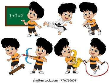 Set of kid activity, kid learning math in class,playing taekwondo ,playing badminton,playing skateboard,playing saxophone,playing bow,jumping with rope.vector and illustration.