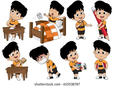 Set of kid activity: kid thinking, waking up, holding a big pencil, eat  a sandwich, sick, holding a book. Vector and illustration.