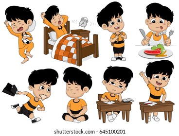 Set of kid activity, kid wake up,sleep,eat,go to school,learning,meditating.Vector and illustration.