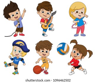 Set of kid activity,kid sings a song,playing a guitar,playing hula hoop,playing roller skates,playing a basketball,playing volleyball.vector and illustration.