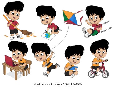 Set of kid activity,kid sweeping a leaf,painting a picture,playing on swing,playing a computer,riding a bicycle,playing a kite.vector and illustration.