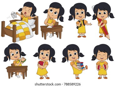 Set of kid activity,kid think,wake up,holding a big pencil,eat sandwich,holding a book. Vector and illustration.