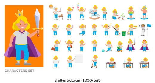Set of kid boy wear white T-shirt and playing character vector design. Presentation in various action with emotions, running, standing and walking.