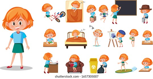 Set of kid character with different expressions on white background illustration