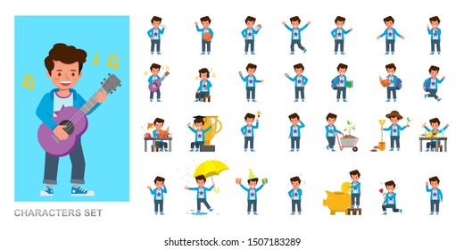 Set of kid character vector design. Boy wear blue shirt and playing. Presentation in various action with emotions, running, standing and walking.