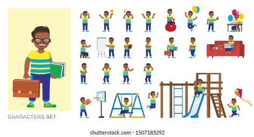 Set of kid character vector design. Boy wear yellow T-shirt and playing. Presentation in various action with emotions, running, standing and walking.