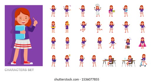 Set of kid character vector design. Girl wear purple T-shirt and playing. Presentation in various action with emotions, running, standing and walking.