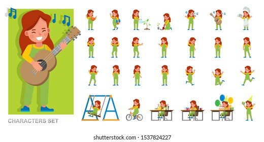Set of kid character vector design. Girl wear green dungarees and playing. Presentation in various action with emotions, running, standing and walking.