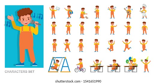 Set of kid character vector design. Boy wear orange dungarees and playing. Presentation in various action with emotions, running, standing and walking.