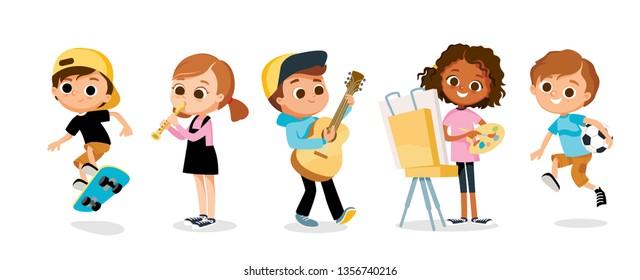 Set of kid / child cartoon characters. Children's hobbies and activities.