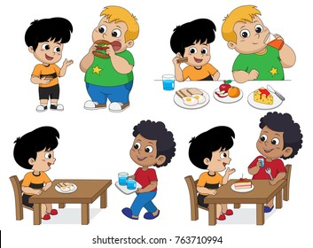 Set of Kid eating delicious food with friends.Vector and illustration.