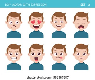 Set of kid facial emotions. Boy cartoon style character with different expressions. Vector illustration. Set three of six.