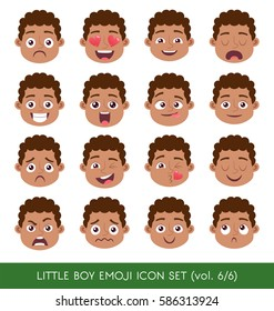 Set of kid facial emotions.Black boy face with different expressions. Vector illustration in cartoon style.