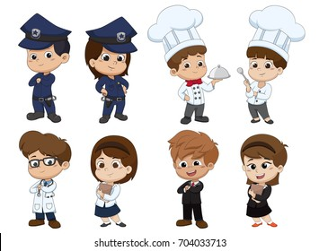 Set of kid occupation,police,chef,docter,nurse,business.Vector and illustration.
