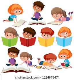 Set of kid reading book illustration