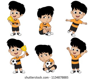 Set of kid, winning the championship and defeat in the competition.Vector and illustration.