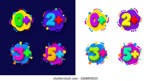 Set of kids age restrictions. Cartoon color vector illustration. Isolated on white and blue background