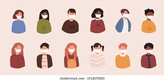 Set of kids avatars. Bundle of children wearing medical face masks to prevent disease, flu, contaminated air pollution. Boys and girls with different skin colors, ethnicities. Flat vector illustration
