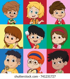 Set of kids avatars, cute cartoon boys and girls faces with various emotions. Vector and illustration.