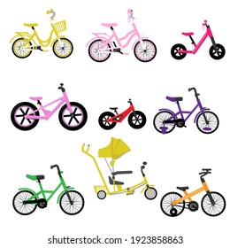 Set of kids bikes. Bicycles for children, for girls. Icons, vector, flat design.