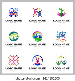 set of kids care logo design template
