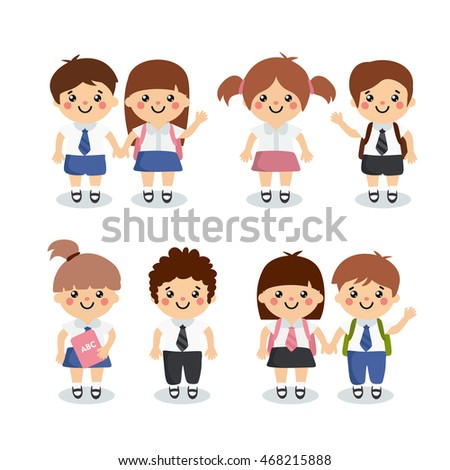 4e7e1304ea Set of kids characters. Pupils in a beautiful school uniforms. Boys and  girls with backpack and book. - Vector