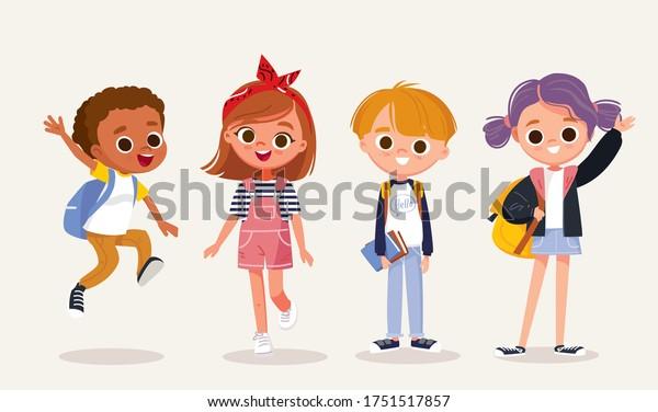 Set of kids. Children and preschoolers.