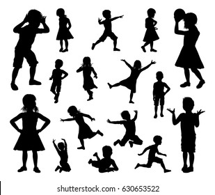 A set of kids or children in silhouette playing, running and jumping and other poses
