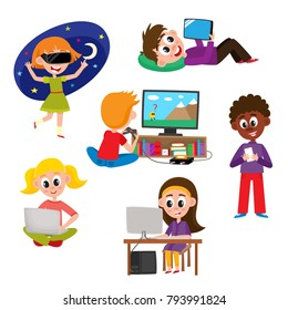 Set of kids, children, teens with gadgets - computer, laptop, tablet, smartphone, game console, virtual reality glasses, cartoon vector illustration isolated on white background. Kids and technologies