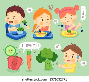 set kids do not like vegetable. children hate vegetables.