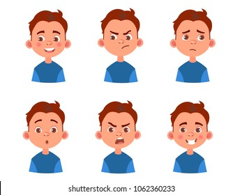 Set of kid`s emotions. Facial expression. Cartoon boy avatar. Vector illustration of cartoon child character