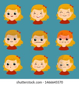 Set of kids emotions. Facial expression. Avatar. Vector illustration of a flat design