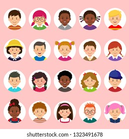 Set of kids faces, avatars, children heads different nationality in flat style.