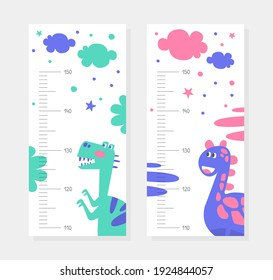 Set of Kids Height Chart with Cute Dinosaurs, Childish Meter Wall for Nursery Design Cartoon Vector Illustration
