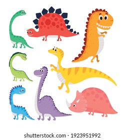 set of kids illustrations of dinosaurs vector illustration design