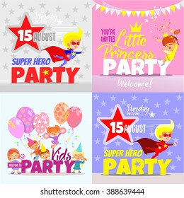 Set with kids party invitation design concepts. Super hero party for boys,little princess party for girls and big kids party with happy cartoon kids celebrating together.Kids party flyer templates.