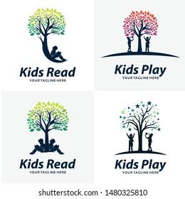 Set of Kids Play Logo Design Templates