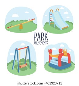 Set of kids playground elements vector illustration