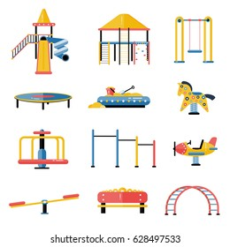 Set of kids playground vector elements in flat design. Children play area devices isolated on white background. Kindergarten amusement toys. Youth sport and recreation ground equipment.