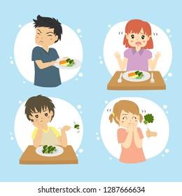 Set of kids refuse to eat vegetables. Children hate vegetables vector set