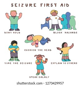 Set of kids in seizure first aid situation, with text. Fine for medical infobrochures for kids and teenagers, public sites about epilepsy and medical checks, banners for sites about epilepsy.