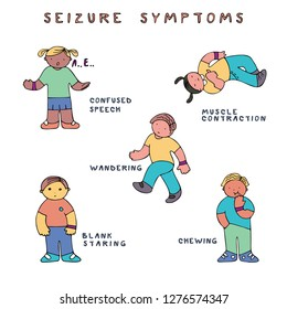Set of kids with seizure symptoms. Fine for medical infobrochures for kids and teenagers, public sites about epilepsy and medical checks, banners for sites about epilepsy.