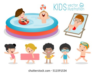 set of Kids in a Swimming Pool, children for summer season. kids playing on the beach and swimming in the pool, Vector Illustration