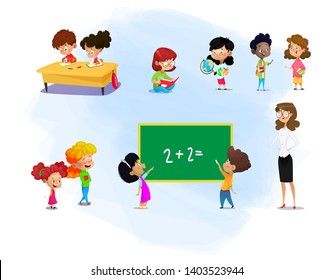 Set of kids and their teacher with school supplies. School kids with books, going to school, reading book, discussing book Education vector.