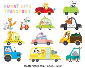 Set of kids transport on white background . Collection funny cars. Vector illustration