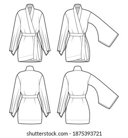 Set of Kimono robe technical fashion illustration with long wide sleeves, belt to cinch the waist, above-the-knee length. Flat blouse template front back white color. Women men unisex CAD shirt mockup